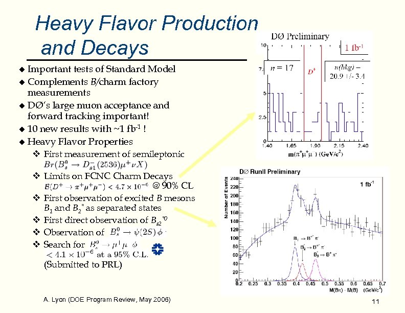 Heavy Flavor Production and Decays Important tests of Standard Model u Complements B/charm factory
