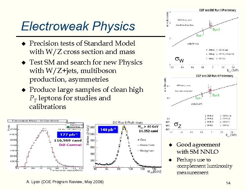 Electroweak Physics u u u Precision tests of Standard Model with W/Z cross section