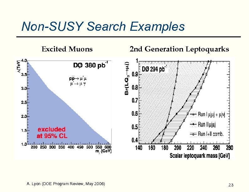 Non-SUSY Search Examples Excited Muons A. Lyon (DOE Program Review, May 2006) 2 nd