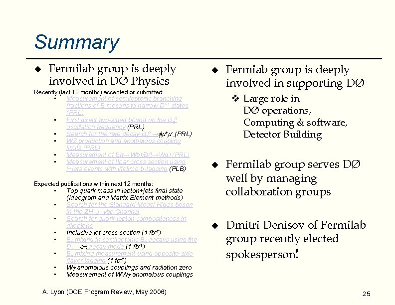 Summary u Fermilab group is deeply involved in DØ Physics u Recently (last 12