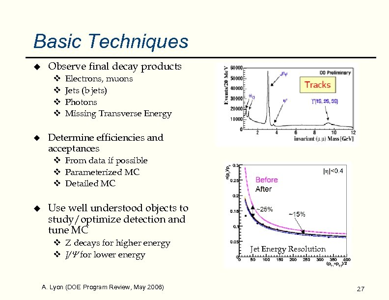 Basic Techniques u Observe final decay products v v u Electrons, muons Jets (b