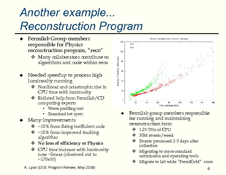 Another example. . . Reconstruction Program u Fermilab Group members responsible for Physics reconstruction