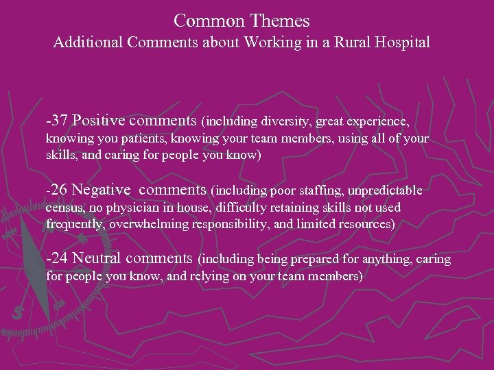 Common Themes Additional Comments about Working in a Rural Hospital -37 Positive comments (including