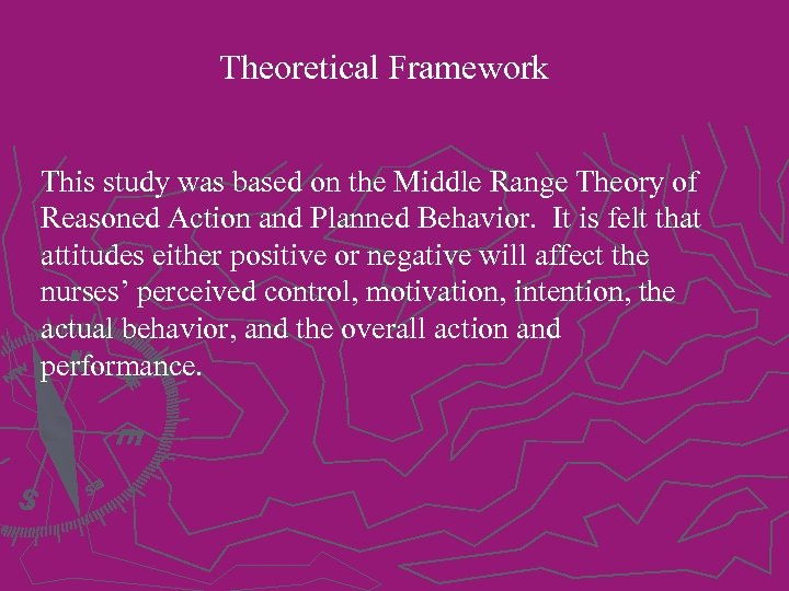 Theoretical Framework This study was based on the Middle Range Theory of Reasoned Action