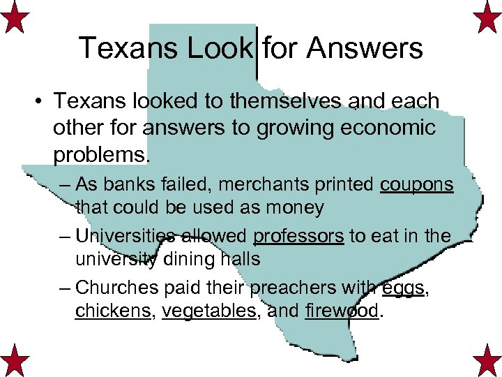 Texans Look for Answers • Texans looked to themselves and each other for answers
