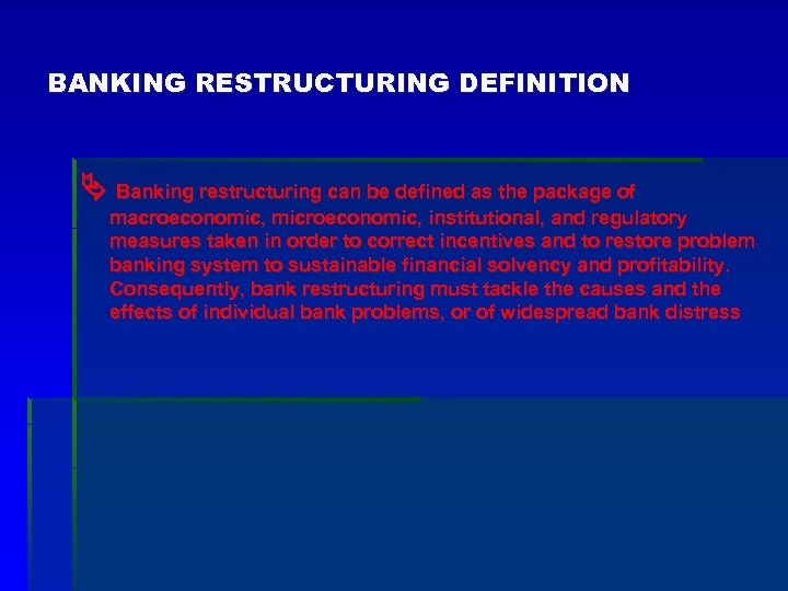 BANKING RESTRUCTURING DEFINITION Banking restructuring can be defined as the package of macroeconomic, microeconomic,