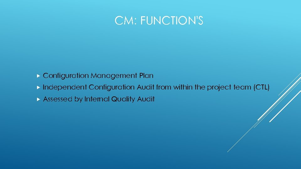 CM: FUNCTION'S Configuration Management Plan Independent Configuration Audit from within the project team (CTL)