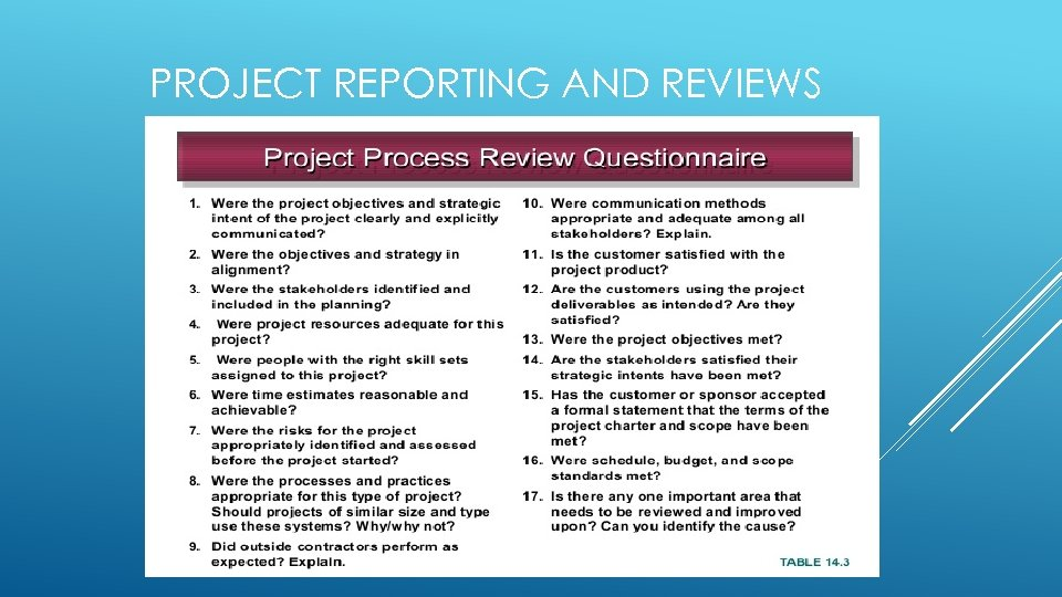 PROJECT REPORTING AND REVIEWS