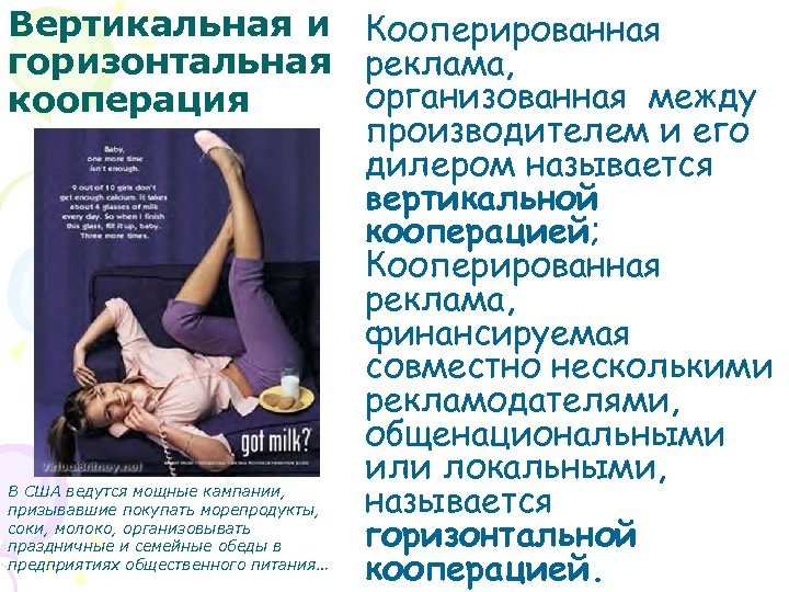 Вертикальная и Кооперированная горизонтальная реклама, организованная между кооперация производителем и его дилером называется вертикальной