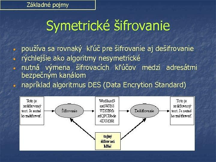Základné pojmy Symetrické šifrovanie • • používa sa rovnaký kľúč pre šifrovanie aj dešifrovanie