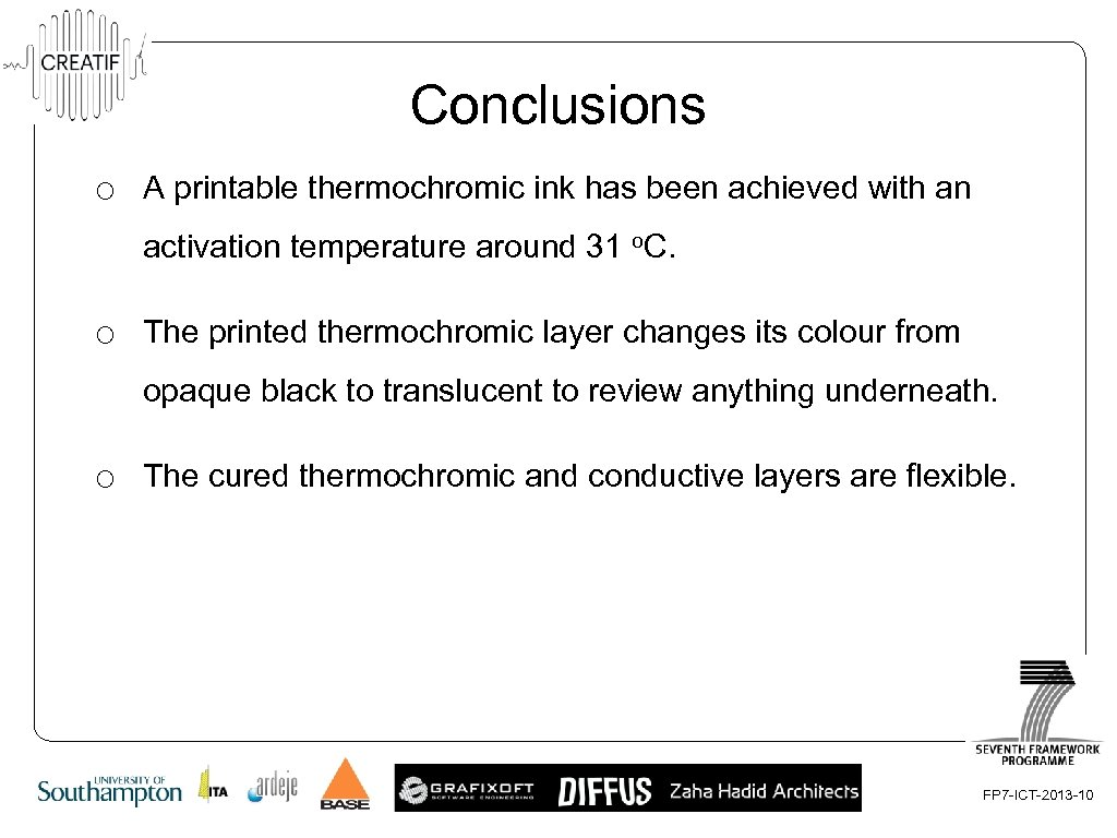 Conclusions o A printable thermochromic ink has been achieved with an activation temperature around
