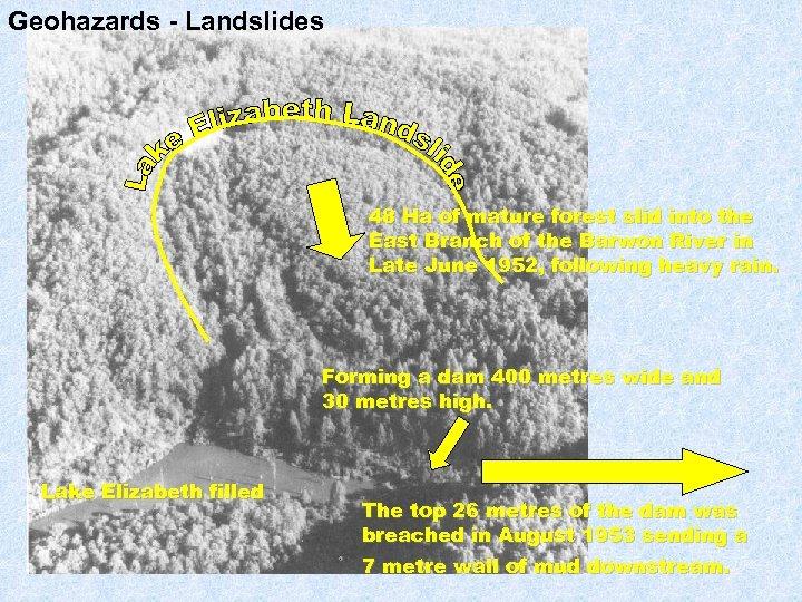 Geohazards - Landslides 48 Ha of mature forest slid into the East Branch of