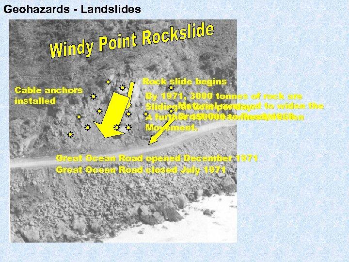 Geohazards - Landslides Cable anchors installed Rock slide begins By 1971, 3000 tonnes of