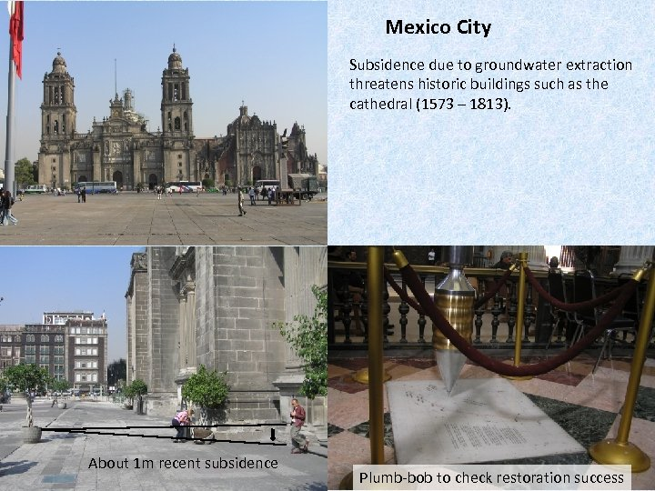 Mexico City Subsidence due to groundwater extraction threatens historic buildings such as the cathedral