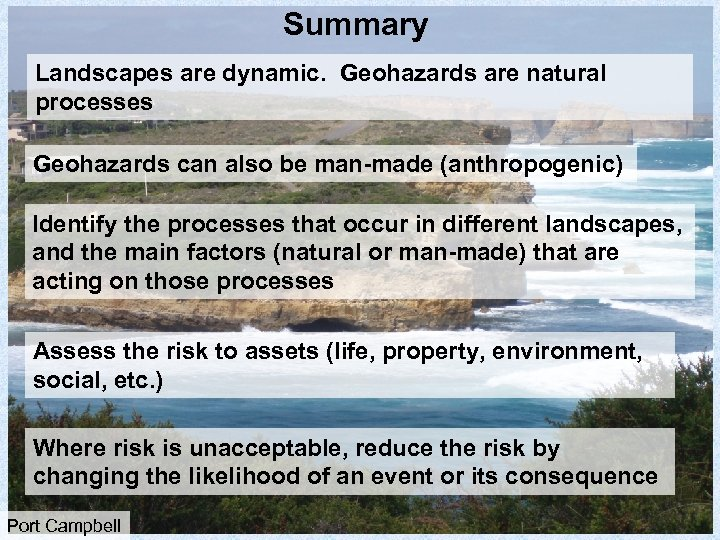 Summary Landscapes are dynamic. Geohazards are natural processes Geohazards can also be man-made (anthropogenic)