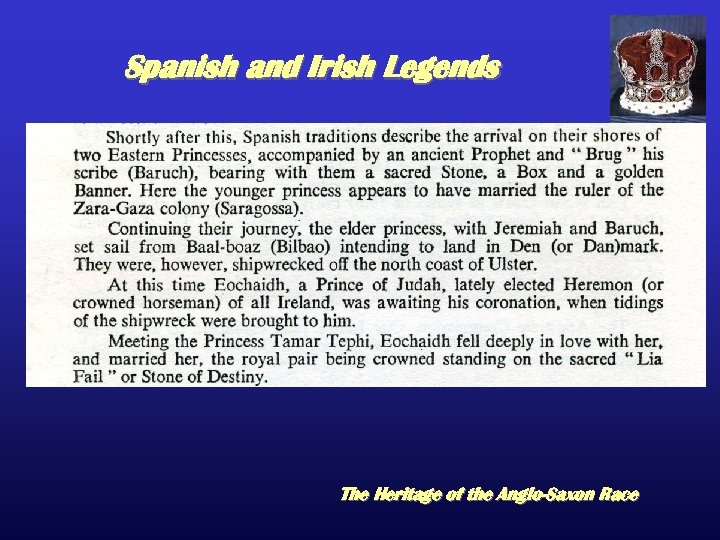 Spanish and Irish Legends The Heritage of the Anglo-Saxon Race