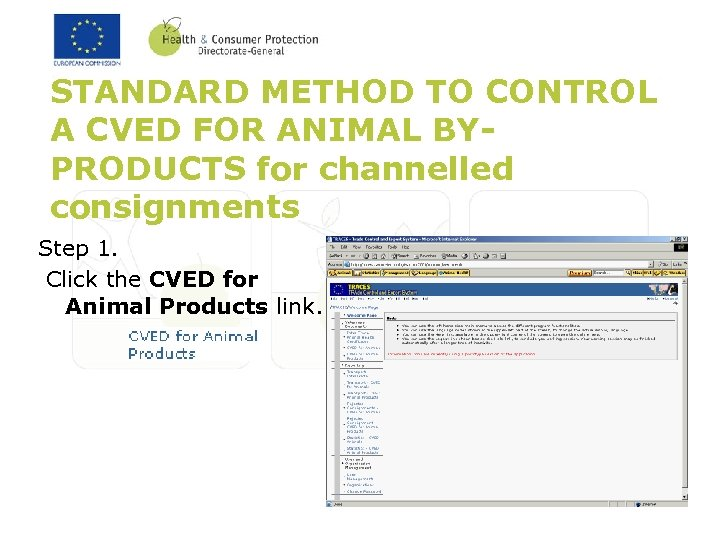 STANDARD METHOD TO CONTROL A CVED FOR ANIMAL BYPRODUCTS for channelled consignments Step 1.