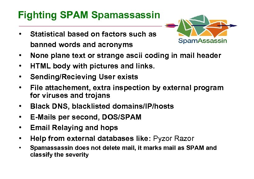 Fighting SPAM Spamassassin • • • Statistical based on factors such as banned words