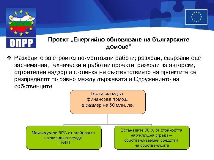 """Проект """"Енергийно обновяване на българските домове"""" v Разходите за строително-монтажни работи; разходи, свързани със"""