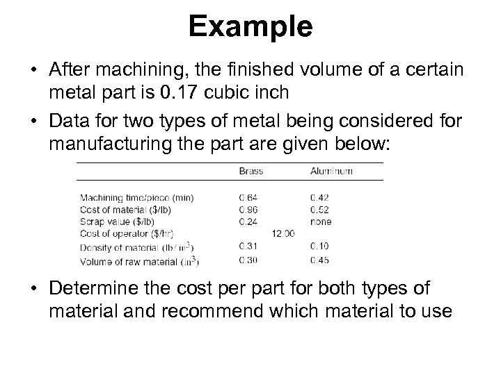 Example • After machining, the finished volume of a certain metal part is 0.
