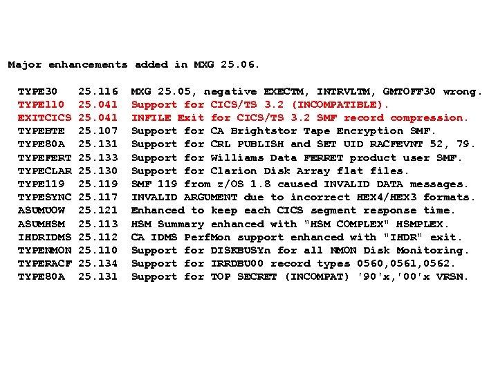 Major enhancements added in MXG 25. 06. TYPE 30 TYPE 110 EXITCICS TYPEBTE TYPE