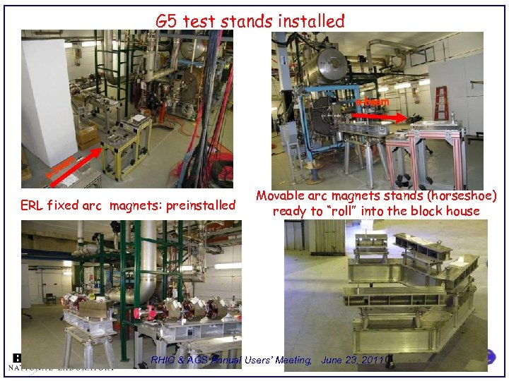 G 5 test stands installed e-beam m ea -b e ERL fixed arc magnets: