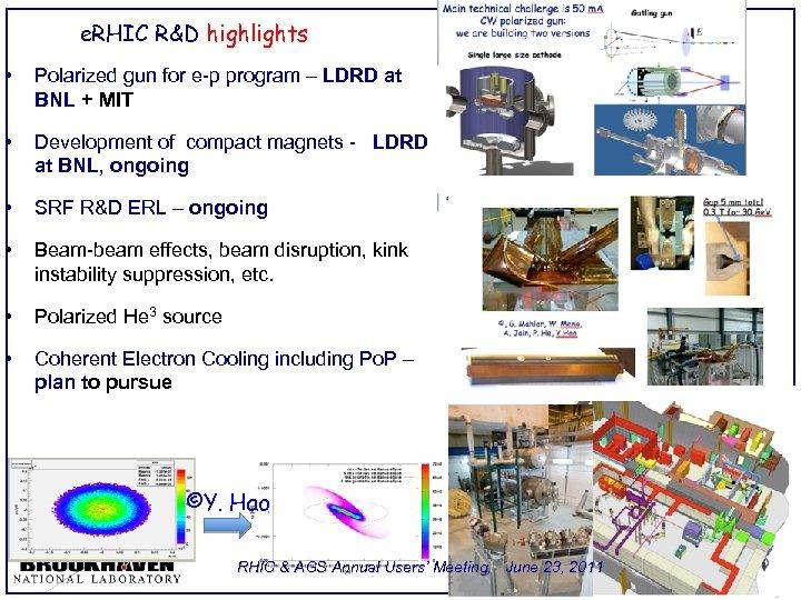 e. RHIC R&D highlights • Polarized gun for e-p program – LDRD at BNL