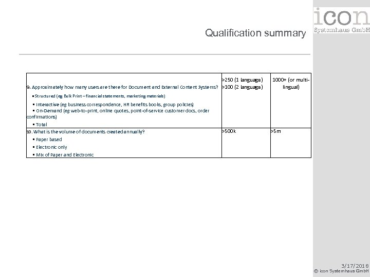 Qualification summary >250 (1 language) 9. Approximately how many users are there for Document