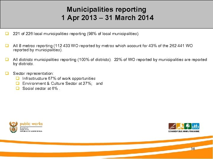 Municipalities reporting 1 Apr 2013 – 31 March 2014 q 221 of 226 local