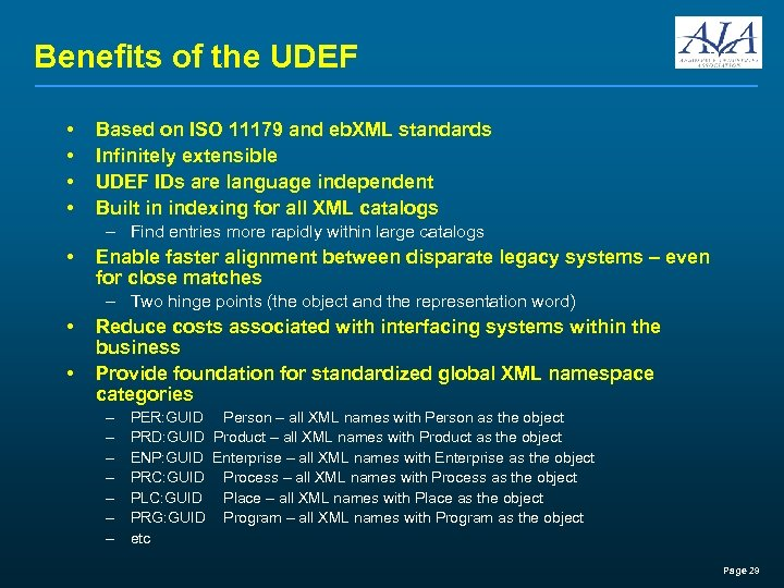 Benefits of the UDEF • • Based on ISO 11179 and eb. XML standards
