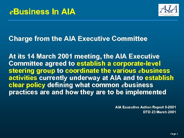 e. Business In AIA Charge from the AIA Executive Committee At its 14 March