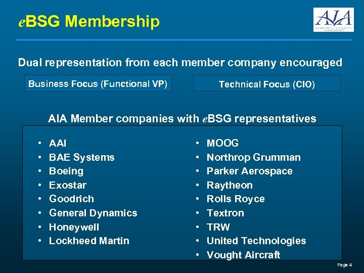 e. BSG Membership Dual representation from each member company encouraged Business Focus (Functional VP)
