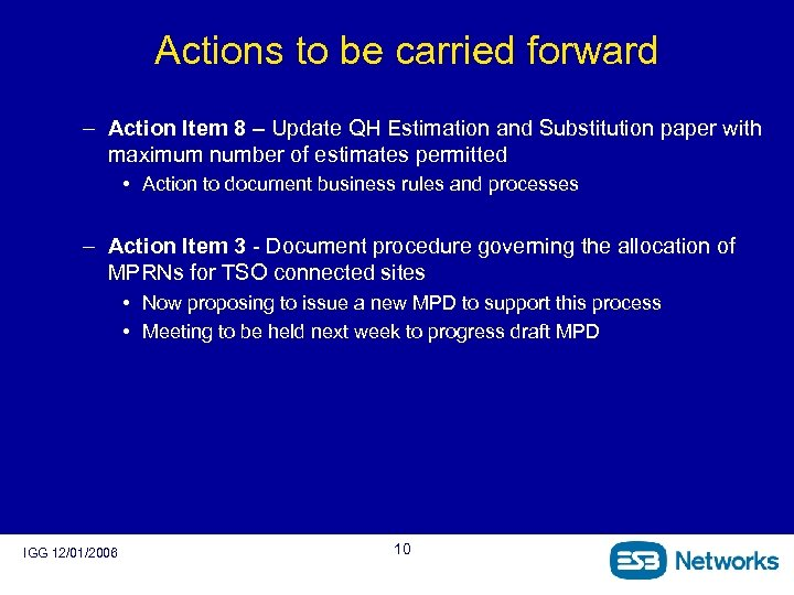 Actions to be carried forward – Action Item 8 – Update QH Estimation and