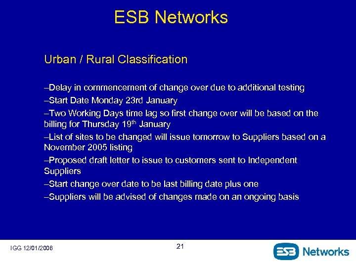 ESB Networks Urban / Rural Classification –Delay in commencement of change over due to