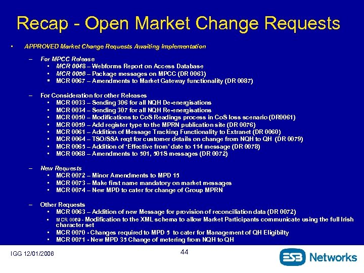 Recap - Open Market Change Requests • APPROVED Market Change Requests Awaiting Implementation –
