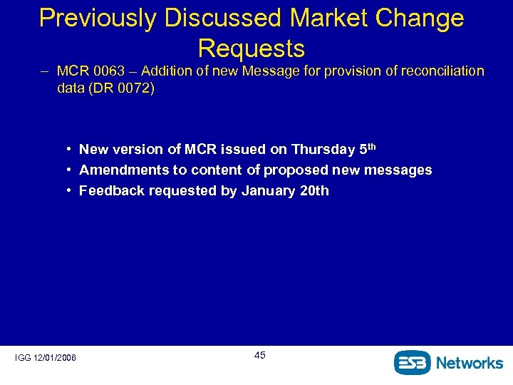 Previously Discussed Market Change Requests – MCR 0063 – Addition of new Message for