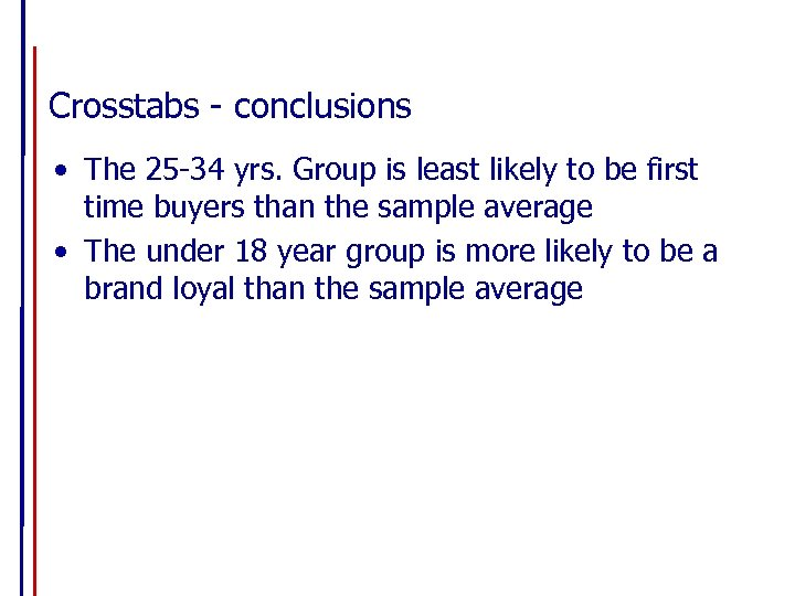 Crosstabs - conclusions • The 25 -34 yrs. Group is least likely to be