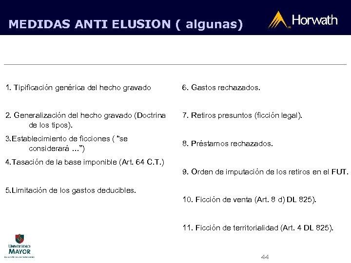MEDIDAS ANTI ELUSION ( algunas) 1. Tipificación genérica del hecho gravado 6. Gastos rechazados.