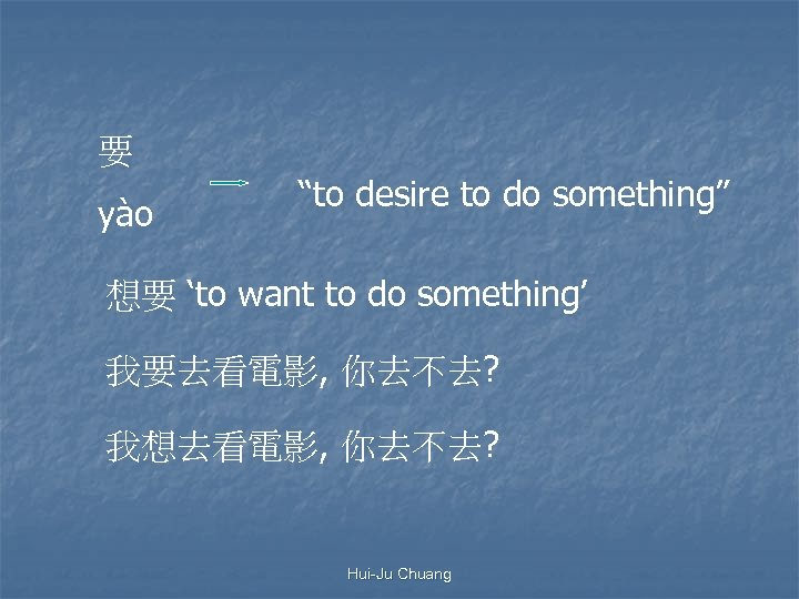 "要 yào ""to desire to do something"" 想要 'to want to do something' 我要去看電影,"