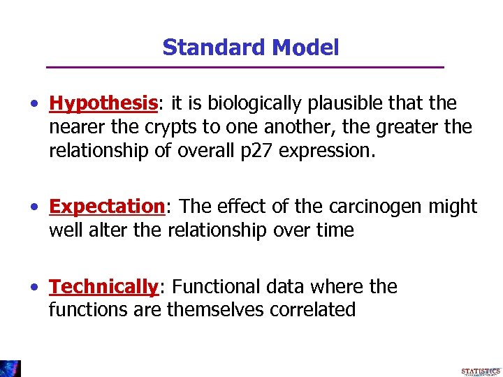 Standard Model • Hypothesis: it is biologically plausible that the nearer the crypts to