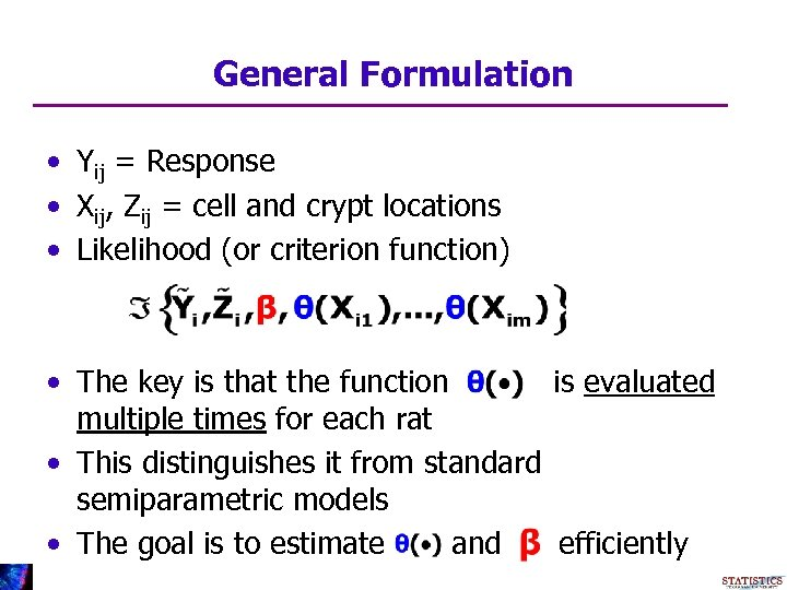 General Formulation • Yij = Response • Xij, Zij = cell and crypt locations