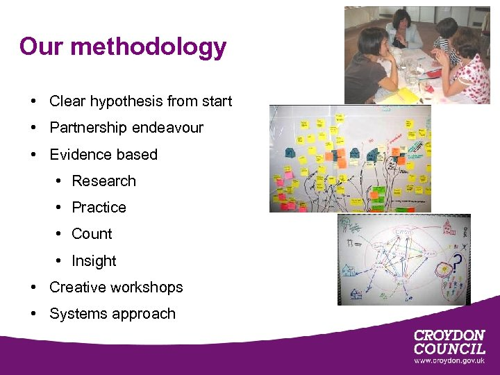 Our methodology • Clear hypothesis from start • Partnership endeavour • Evidence based •