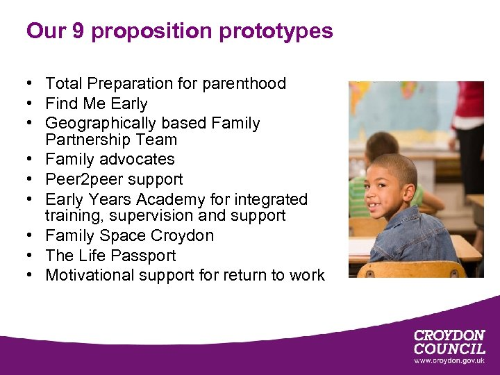 Our 9 proposition prototypes • Total Preparation for parenthood • Find Me Early •
