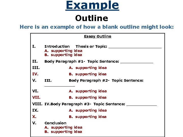 Example Outline Here is an example of how a blank outline might look: Essay