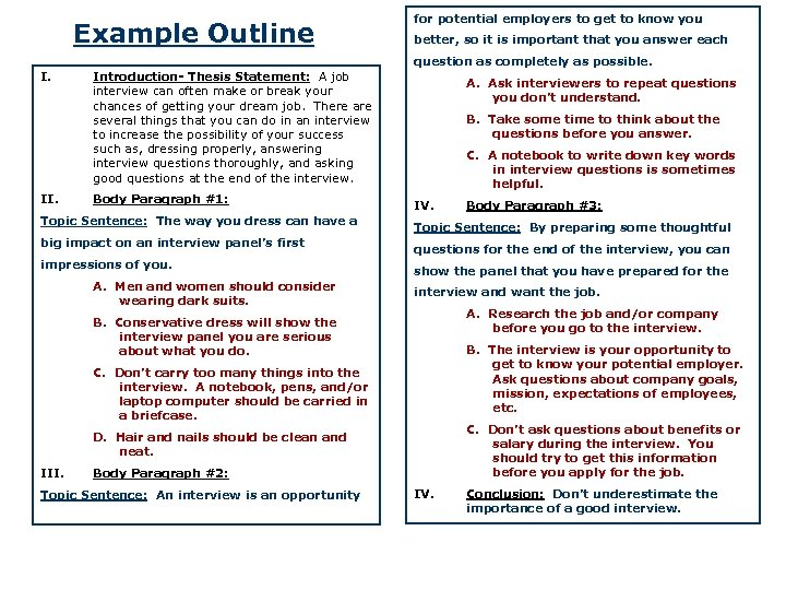 Example Outline for potential employers to get to know you better, so it is