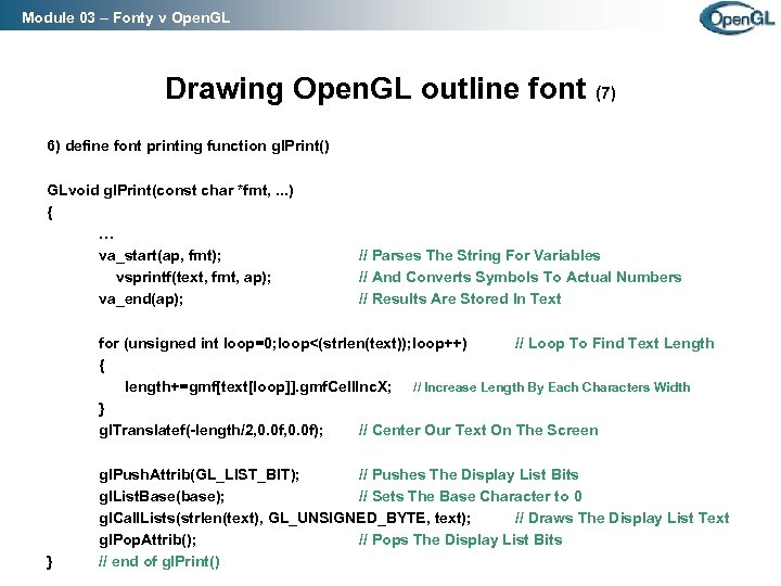Module 03 – Fonty v Open. GL Drawing Open. GL outline font (7) 6)