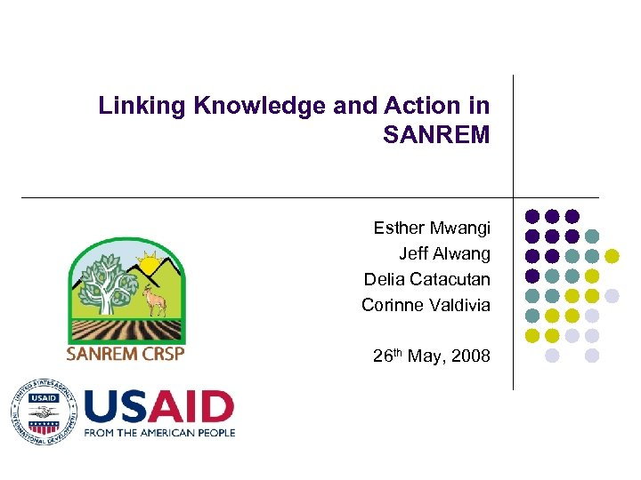 Linking Knowledge and Action in SANREM Esther Mwangi Jeff Alwang Delia Catacutan Corinne Valdivia