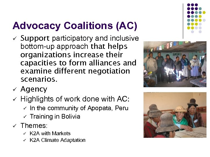 Advocacy Coalitions (AC) ü ü ü Support participatory and inclusive bottom-up approach that helps