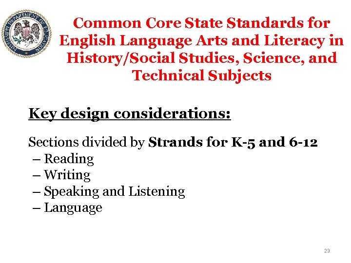 Common Core State Standards for English Language Arts and Literacy in History/Social Studies, Science,
