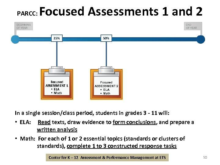 PARCC: Focused Assessments 1 and 2 25% 50% Focused ASSESSMENT 1 • ELA •